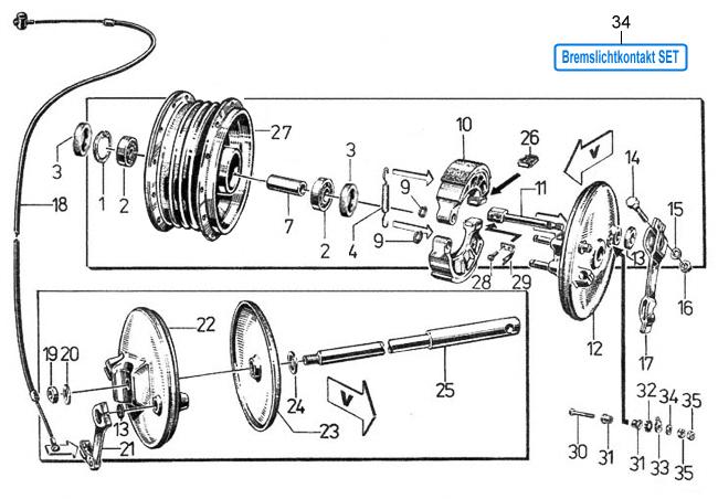 Reparatur Set Bremslichtkontakt Bremsnocken für Simson S51 Schwalbe KR51//2