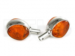 2 Lenkerblinkleuchte (Blinker) Orange - Chrom Look KR51