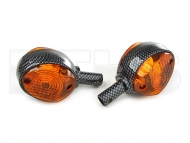 2 Lenkerblinkleuchte (Blinker) Orange - Carbon Look KR51